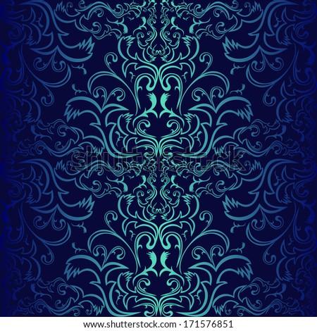 Dark Blue Ornamental Wallpaper Raster Version