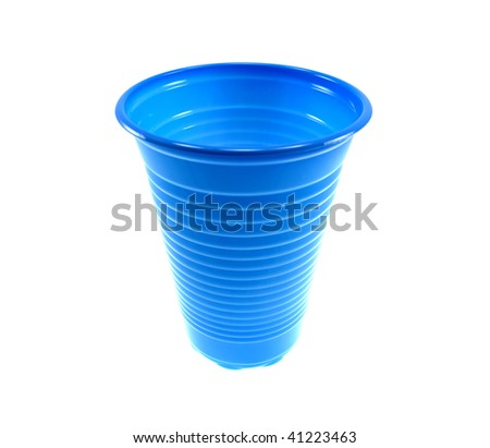Dark blue plastic glass isolated on a white background - stock photo