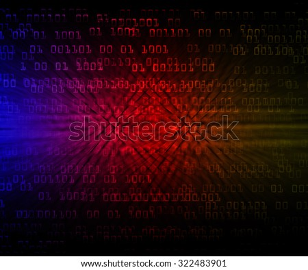 dark blue red yellow illustration of technology internet network computer background with binary number, style background. infographics. Information. motion blur. pixel. Binary digit - stock photo