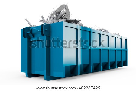 Dark Blue rubble container perspective front view isolated on white background. 3D Rendering, 3D Illustration. - stock photo