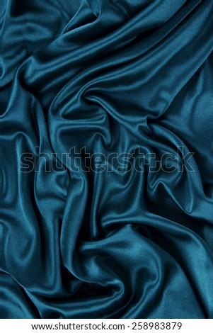 Dark Blue Satin Silk Velvet Cloth Fabric Background - stock photo