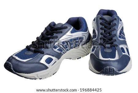 Dark blue sneakers, isolated on a white background. - stock photo