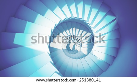 Dark blue spiral stairs in sun light abstract 3d interior - stock photo