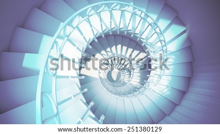 Dark blue spiral stairs with rails in sun light abstract 3d interior - stock photo