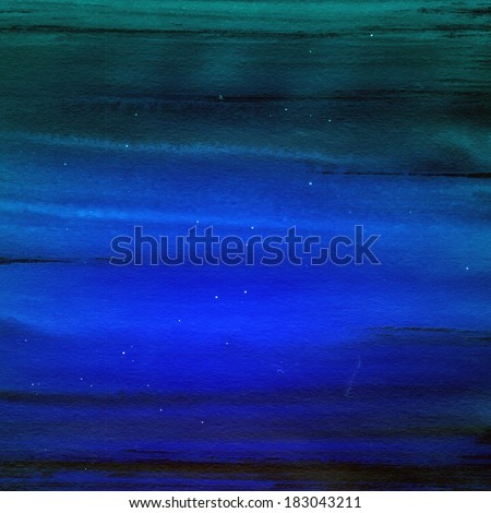 Dark blue striped background. Abstract aquarelle texture color backdrop. Handmade technique.  - stock photo