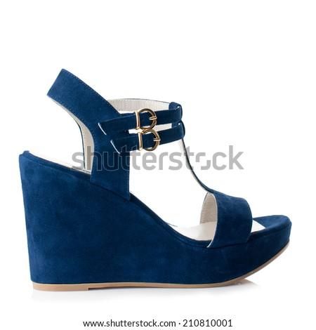 Dark blue suede women shoe isolated on white background. - stock photo