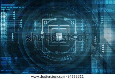 Dark blue tech background - stock photo