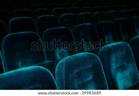 Dark blue theatrical armchairs. Small depth of sharpness - stock photo
