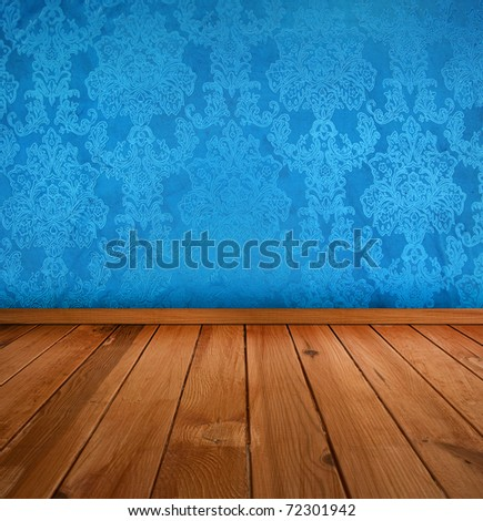 dark blue vintage interior with wooden floor with artistic shadows added - stock photo