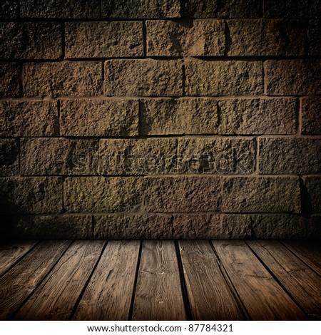 Dark brick and wood interior background - stock photo