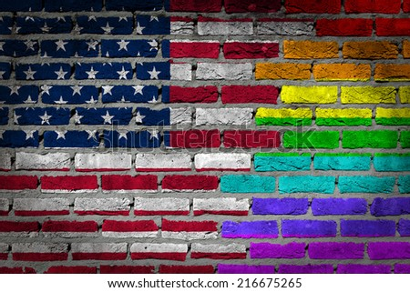 Painted gay flag and symbol