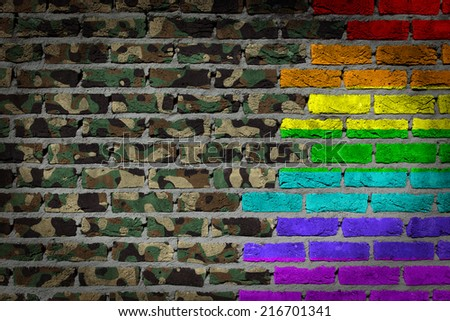Dark brick wall texture - coutry flag and rainbow flag painted on wall - Army camouflage - stock photo
