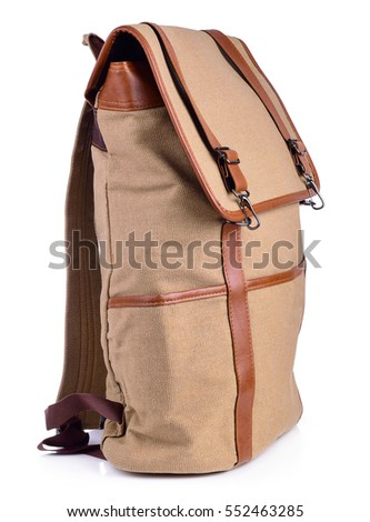 dark brown backpack standing isolated on white background.