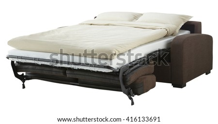 Dark brown couch bed isolated on white include clipping path - stock photo