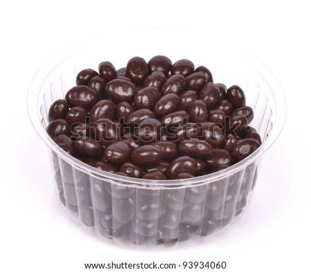 Dark brown dragee, chocolate covered nuts - stock photo