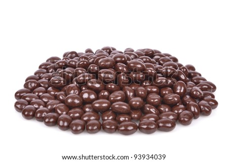Dark brown dragee, chocolate covered nuts, isolated on white background - stock photo