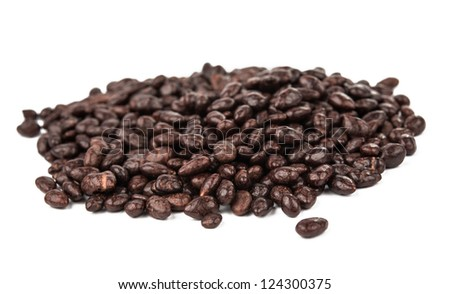 Dark brown dragee, chocolate covered sunflower seeds, isolated on white background - stock photo