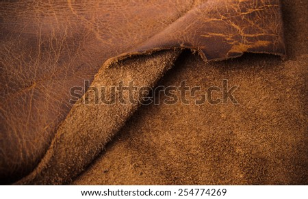 Dark Brown Leather and Suede for Concept and Idea Style of Fine Leather Crafting, Handmade Leather handcrafted, Background Textured and Wallpaper. - stock photo