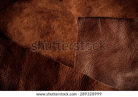 Dark Brown Leather for Concept and Idea Style of Fine Leather Crafting, Handcrafts Work Space, Handmade Leather handcrafted, leather worker. Background Textured and Wallpaper. - stock photo