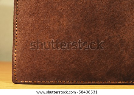 Dark brown leather texture - stock photo