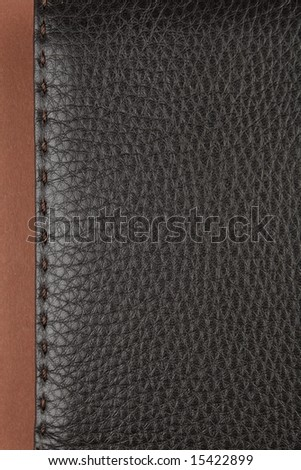 dark brown leather texture with stitch - stock photo
