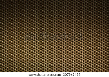 Dark brown Metal Background with Holes. Metal Grid for industrial. - stock photo