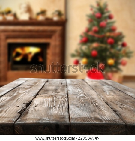 dark brown old top and wooden space in home of christmas  - stock photo