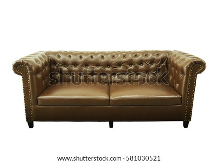 Dark brown vintage beautiful luxurious sofa interior isolated on white  background.Fashion object concept.