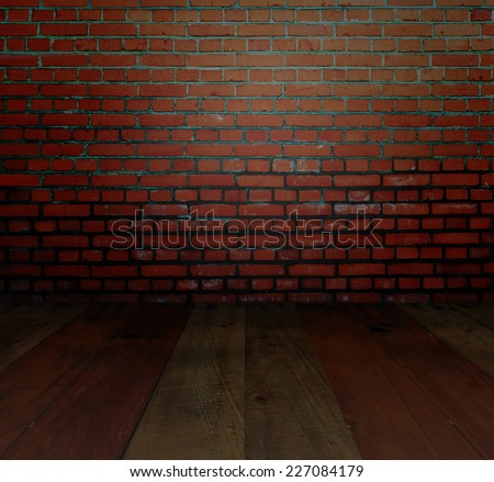 dark brown wall and wooden perspective floor - stock photo