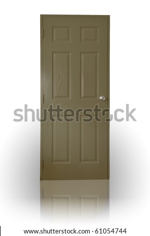 Dark brown wood door with shadow - stock photo