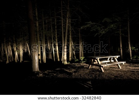 Dark Camp Site with Picnic Table in the Light - stock photo