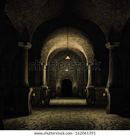 Dark cellar in a medieval castle - stock photo