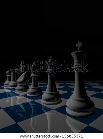 Dark chess illustration, strategy concept. Night view with black background and chessboard, vertical view. - stock photo