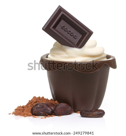 Dark chocolate bar, cupcake, cacao beans and powder  isolated on white background - stock photo