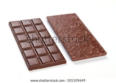 dark chocolate bar on white background - stock photo