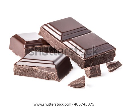 Dark chocolate bars isolated on white background.