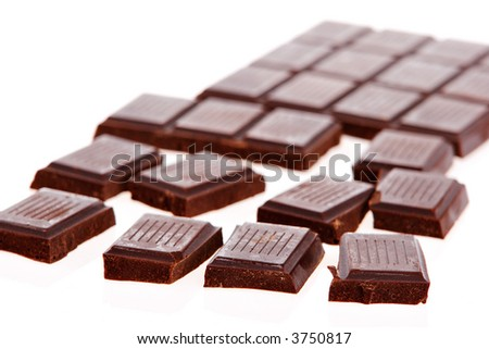 Dark Chocolate bars on white background