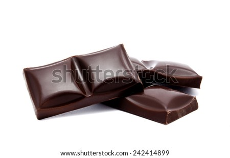 Dark chocolate bars stack with crumbs isolated on a white background  - stock photo