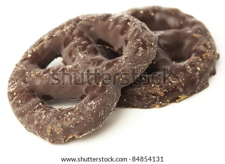 dark chocolate biscuits on a white background - stock photo
