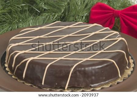 Dark Chocolate Cake for Christmas Parties - stock photo