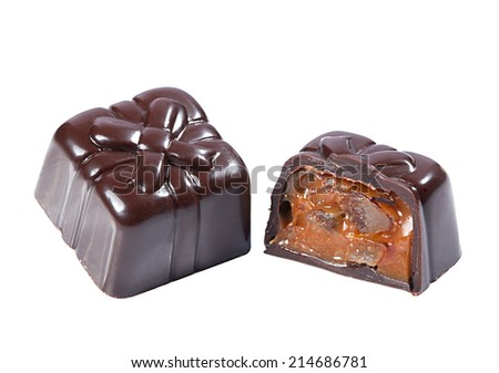 Dark chocolate candy with caramel filling - stock photo