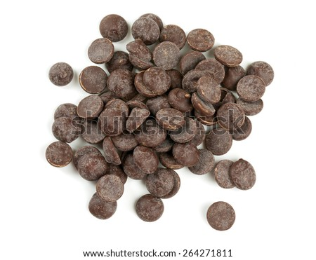 dark chocolate chips isolated on white - stock photo