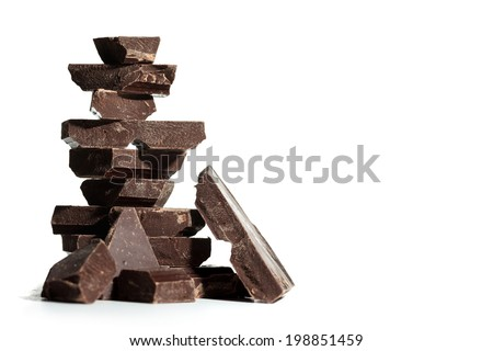 Dark chocolate chunks  - stock photo