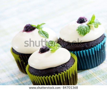 Dark chocolate cupcakes with white chocolate ganache frosting, decorated with a sugar covered Blueberry and Mint leaves. - stock photo