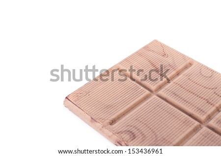 Dark chocolate on white background
