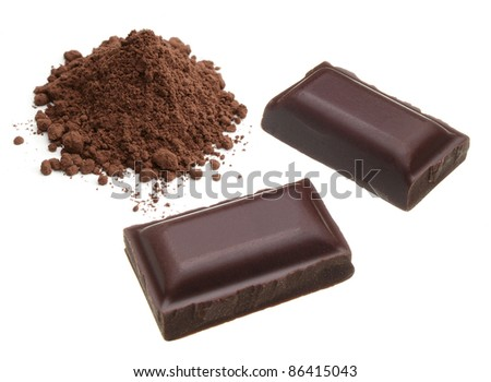 Dark chocolate pieces with cocoa powder on white background - stock photo