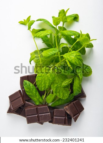 Dark Chocolate pieces with mint herb - stock photo