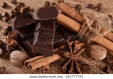 dark chocolate, spices and coffee - stock photo