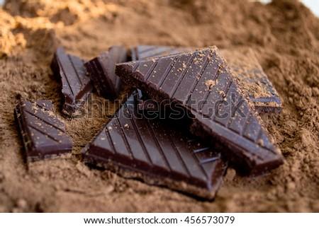 Dark chocolate with cocoa powder - stock photo