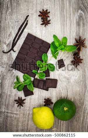 dark chocolate with spices and flavor